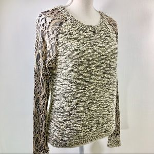 BKE Boutique Sweater Long Lace Sleeves. Tan M